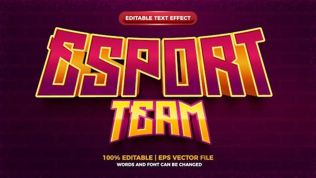 Eスポーツゲームチームの3d太字の編集可能なテキスト効果