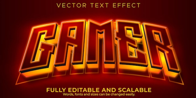 Esport gamer text effect, editable game and neon text style