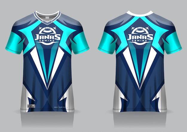 Шаблон игровой футболки esport, форма, вид спереди и сзади