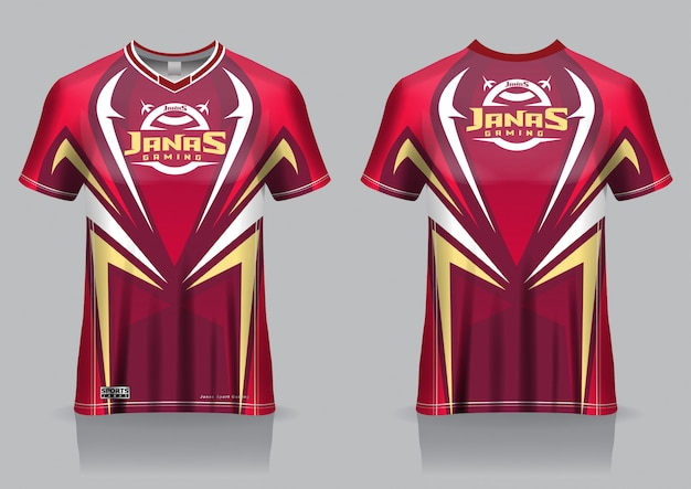 Esport gaming t shirt jersey template, uniform, front and back view