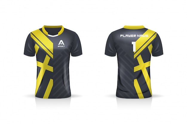 Спецификация футбол спорт, esport gaming t футболка джерси шаблон. униформа. иллюстрация