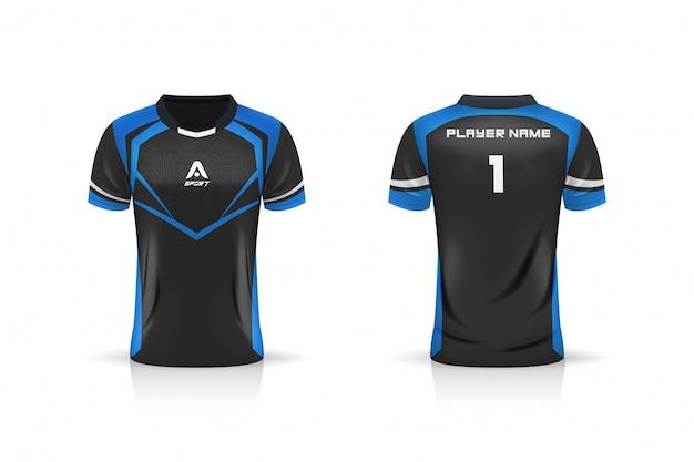 Спецификация футбол спорт, esport gaming t футболка джерси шаблон. макет униформы. дизайн векторные иллюстрации