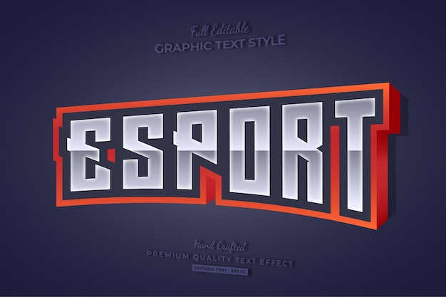 Esport gaming team 3d editable text effect font style