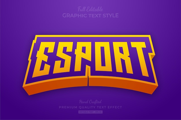 Esport gaming team purple yellow editable text effect font style Premium Vector