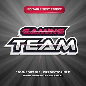 Esport gaming team red editable text effect style template
