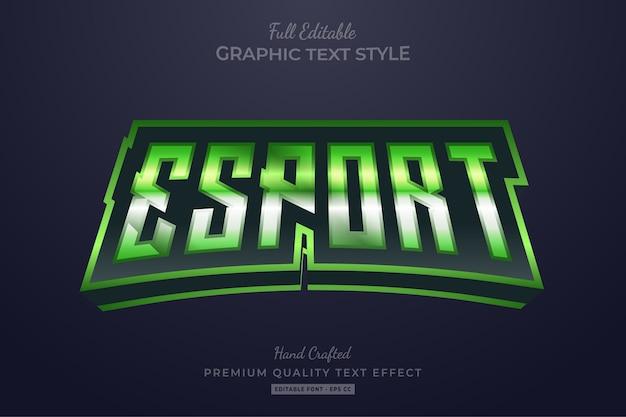 Редактируемый эффект стиля текста премиум-класса esport glow green