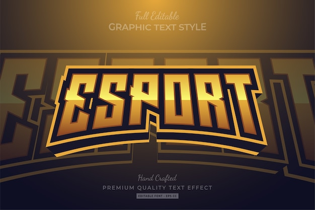 Esport gold editable premium text style effect