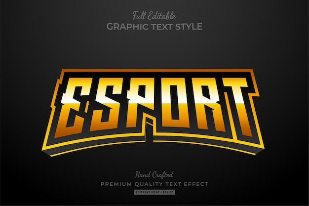 Esport gold editable text style effect