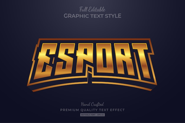 Esport golden editable text style effect premium