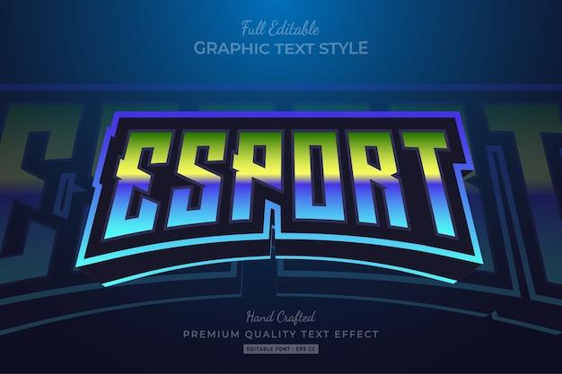 Редактируемый эффект стиля текста премиум-класса esport gradient