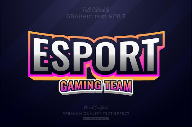 Esport gradient gaming team editable   text effect font style