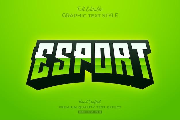 Редактируемый текстовый эффект премиум-класса esport gradient green