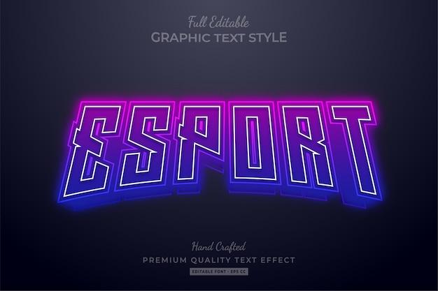Редактируемый текстовый эффект esport gradient neon