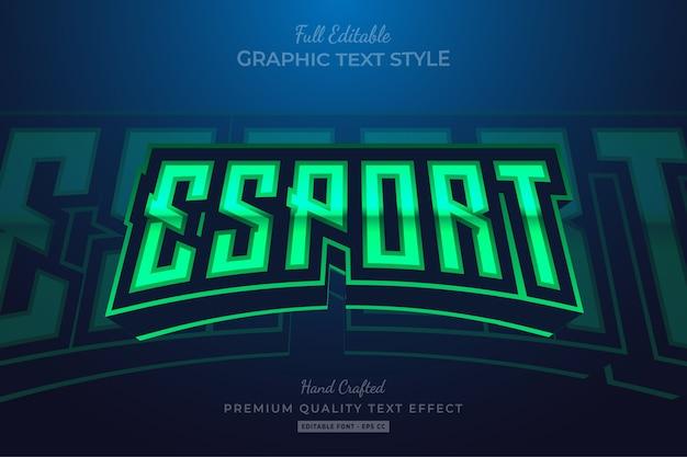 Редактируемый эффект стиля текста премиум-класса esport green