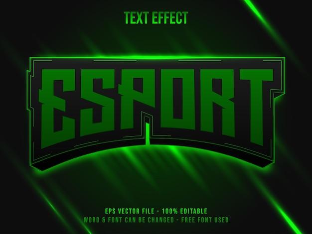 Стиль текста эффекта зеленого света киберспорта эффект редактируемого текста