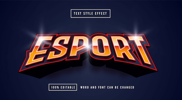 Esport line red editable text effect premium vector
