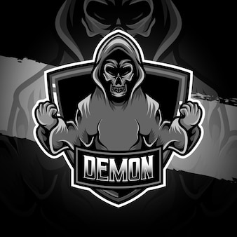 Esport logo demon character icon
