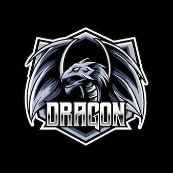 Киберспорт логотип дракона талисман значок символа