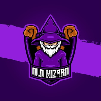 Esport logo old wizard character icon