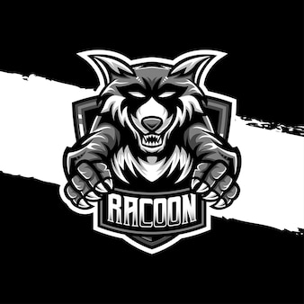 Esport logo racoon character icon