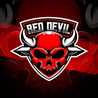 Esport logo red devi character icon