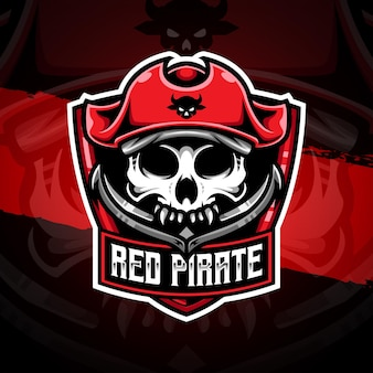 Esport logo red pirate character icon
