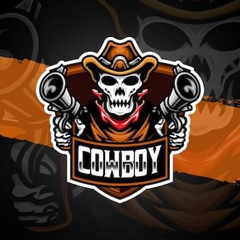 Esport logo skull cowboy illustration character icon