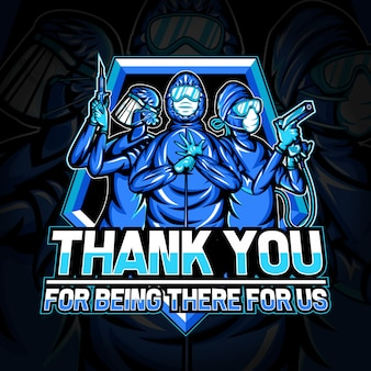 Esport logo of thank you for medical team for fighting against coronavirus