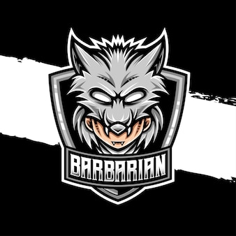 Esport logo warbarian wolf character icon