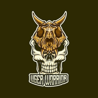 Esport logo whit liger warrior caracter icon