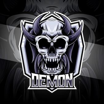 악마 캐릭터 아이콘이있는 esport 로고