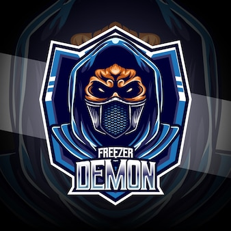 冷凍庫の悪魔のキャラクターとeスポーツのロゴ