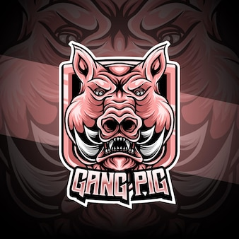 Esport logo with pig character