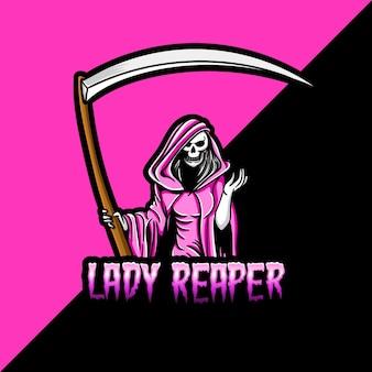 ピンクの女性の死神のマスコットとeスポーツのロゴ