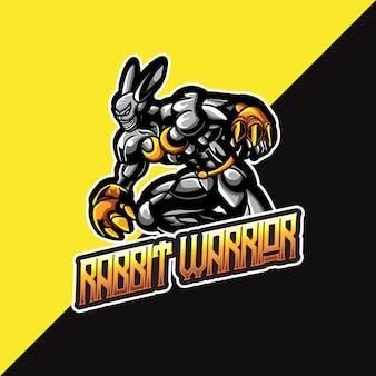 ウサギの戦士のマスコットとeスポーツのロゴ