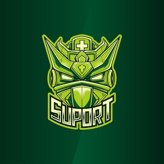 Esport logo with suport robot illustration character icon