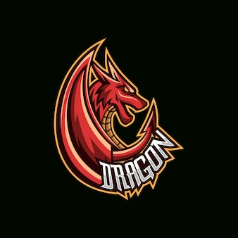 Красный дракон векторной иллюстрации esport mascot logo
