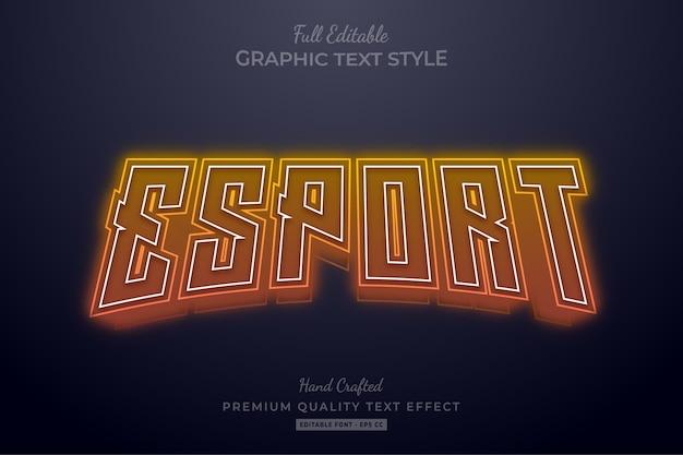 Редактируемый текстовый эффект esport orange neon Premium векторы