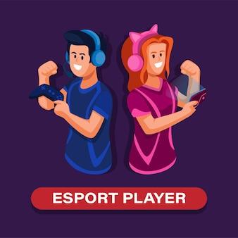 ゲームパッドとスマートフォンガジェットのマスコットイラストベクトルを保持しているeスポーツプレーヤーの男の子と女の子