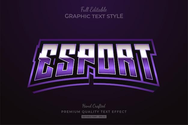 Эффект редактируемого стиля текста esport purple premium