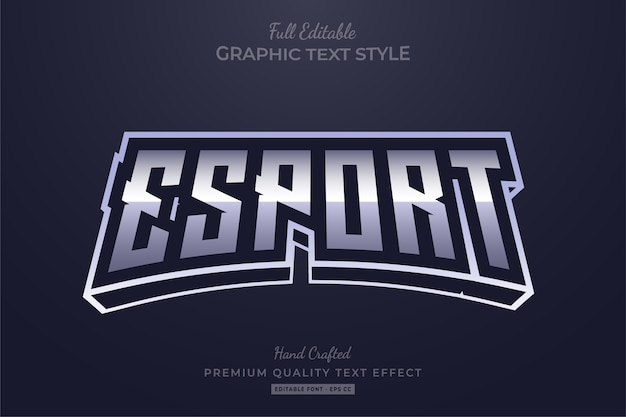Esport silver editable text style effect