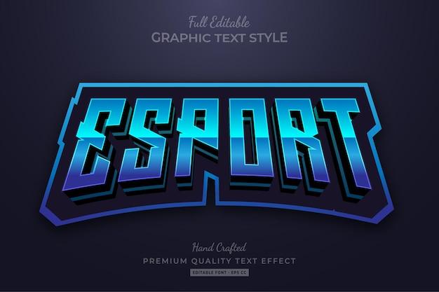 Esport team blue editable text effect font style