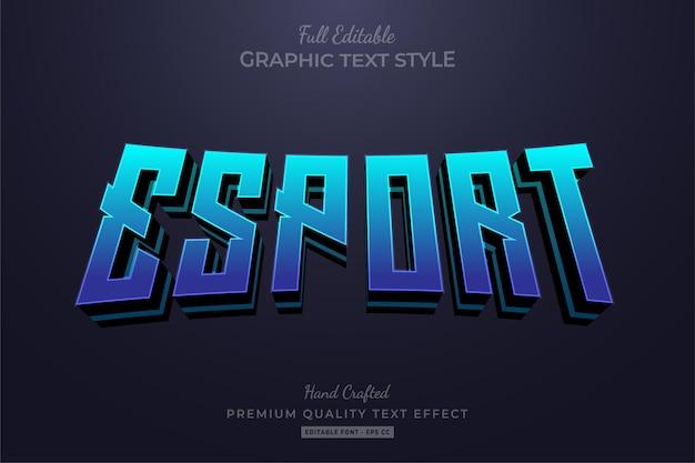 Стиль шрифта с синим редактируемым текстовым эффектом esport team
