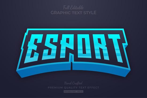 Стиль шрифта с редактируемым текстовым эффектом esport team blue