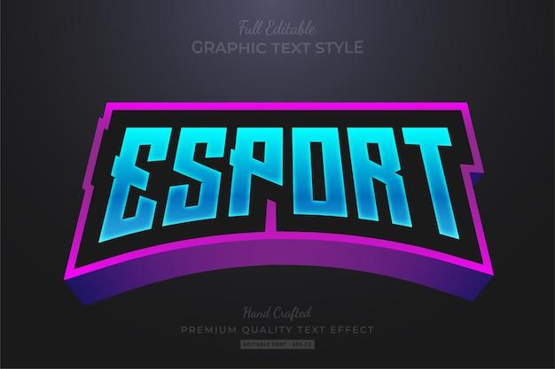 Стиль шрифта с редактируемым текстовым эффектом команды esport blue purple