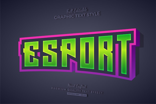 Esport team gaming 3d editable text effect font style