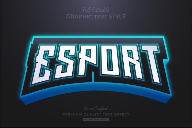 Esport team glow neon editable text effect font style