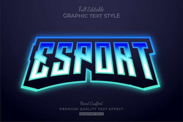 Редактируемый текстовый эффект esport team gradient blue