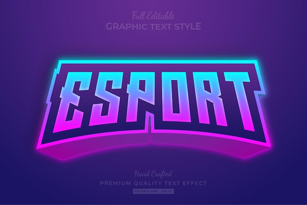 Esport team gradient editable text effect font style