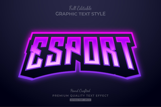 Редактируемый текстовый эффект esport team gradient purple